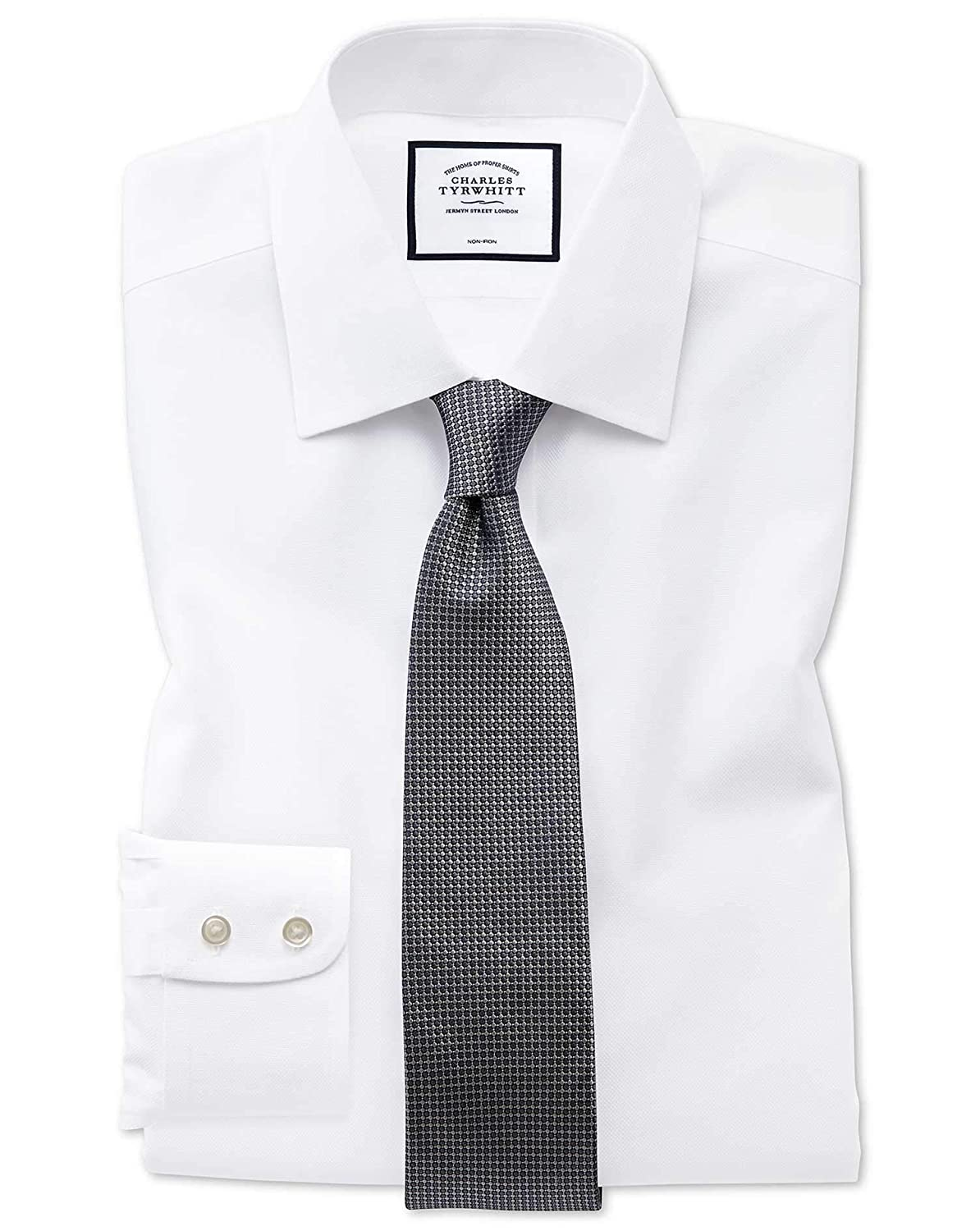 8701a853 Charles Tyrwhitt Classic Fit Non-Iron White Royal Panama Cotton Formal Shirt  Double Cuff: Amazon.co.uk: Clothing