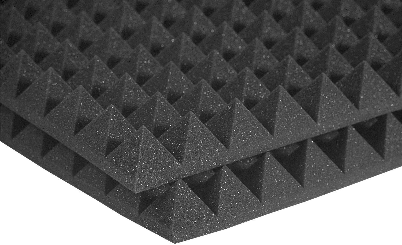 Auralex Acoustics Studiofoam Pyramid Acoustic Absorption Foam, 2'' x 24'' x 24'', 12-Panels, Charcoal