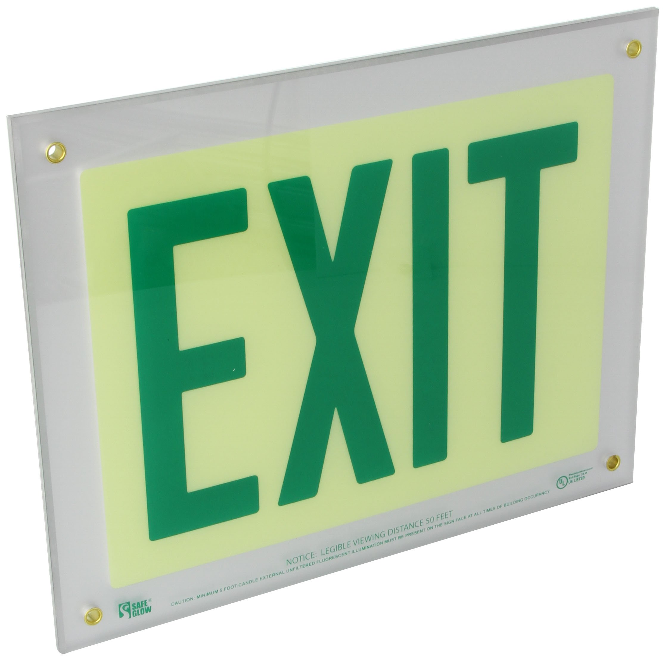 Safe Glow Photoluminescent Exit Sign, ''EXIT'', 12-19/64'' Length x 9-1/2'' Width x 1/4 '' Height, Wall Mount (Pack of 1)