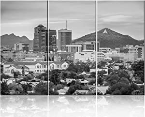 3 Pieces Canvas Wall Art Black and White Tucson, Arizona, USA Downtown Skyline with Sentinel Peak at Dusk Modern Home Decor Stretched and Framed Ready to Hang - 14 x 28 inch x 3 Panels