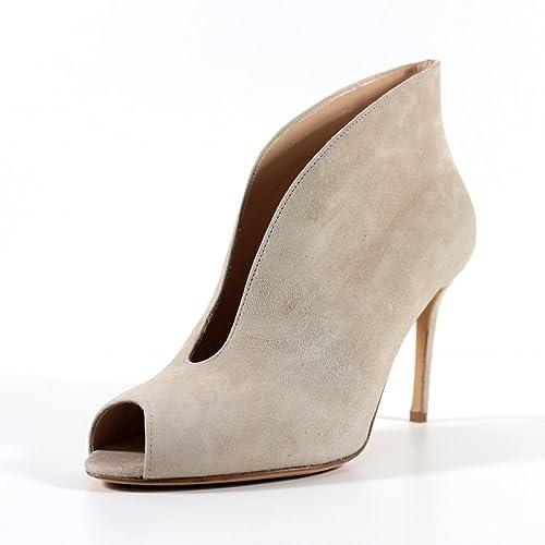 GIORGIO REA Zapatos para mujer hechos a mano en Italia botines abierti punta abierta cuero de