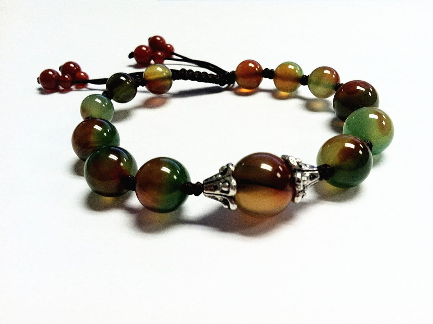 Beautiful Handmade Peacock Agate Beads Bracelet for Protection, Strength and Harmony (with Betterdecor pouch)