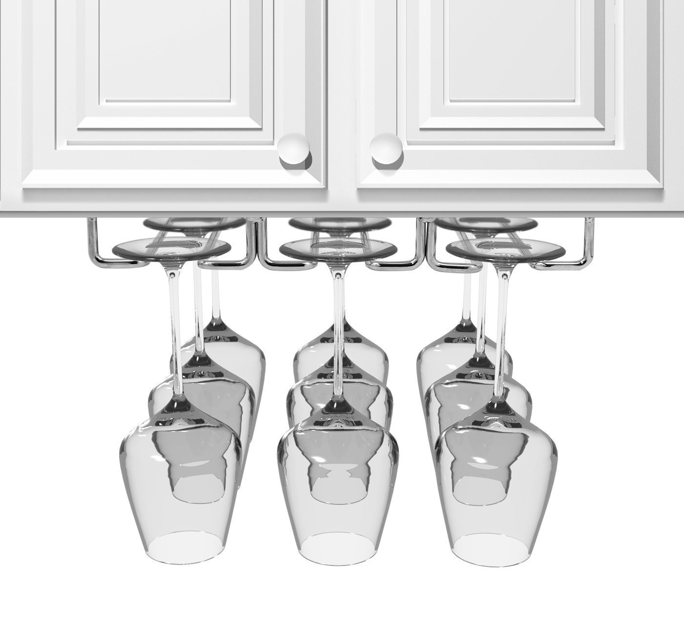 JMiles Under Cabinet Hanging Stemware Rack Hold Up To 9 Wine Glasses (Chrome)