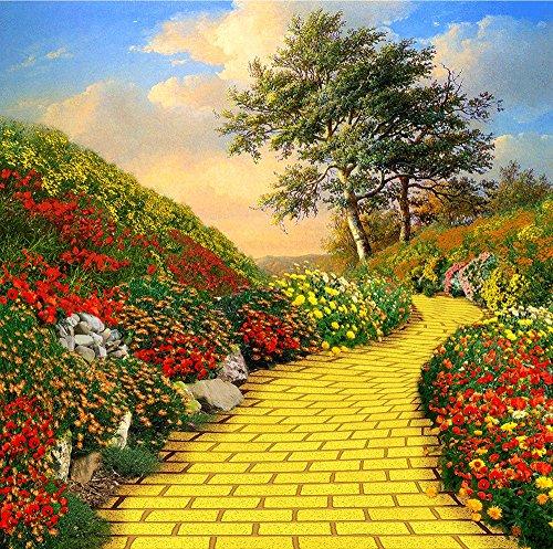 Photography Backdrop - Yellow Brick Road. Seamless Fabric background(10 x 10)]()