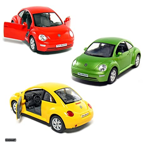 Amazon Com Set Of 3 Cars 6 Vw New Beetle 1 24 Scale Toys Games