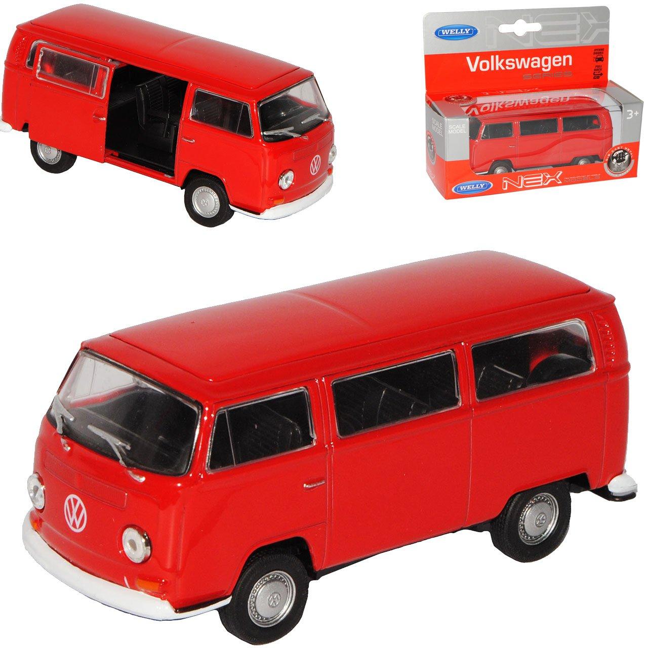 Welly Volkwagen T2 Rot Bus Transporter 1967-1979 ca 1//43 1//36-1//46 Modell Auto mit individiuellem Wunschkennzeichen