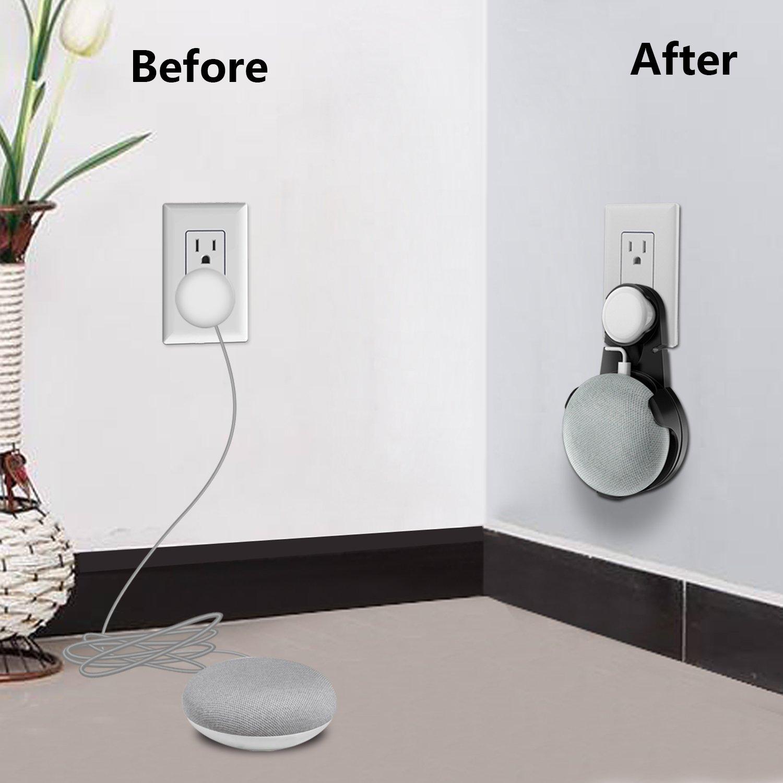 Wigoo Support pour Google Home Mini Convient pour Cuisine Noir Salle de Bain et Chambre Solution compacte pour Votre Smart Home Speaker sans Fils ou Autocollants Messy