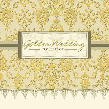 50th golden wedding anniversary invitations pack of 6 quality cards 50th golden wedding anniversary invitations pack of 6 quality cards envelopes stopboris Gallery
