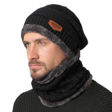 204cf121630 NovForth Hat Neck Warmer Set Beanie Knitting Hat Scarf Warm Fleece Lined  Wool Baggy Slouchy Thick Ski Cap(Black)  Amazon.co.uk  Clothing