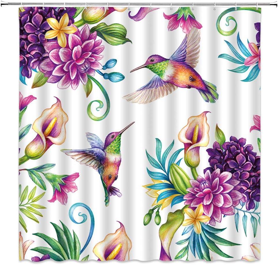 Dachengxing Bird Flower Shower Curtain Calla Lily Hummingbird Decor Vintage Garden Dynamic Nature Fabric Bathroom Set Hooks Included Purple Home Kitchen