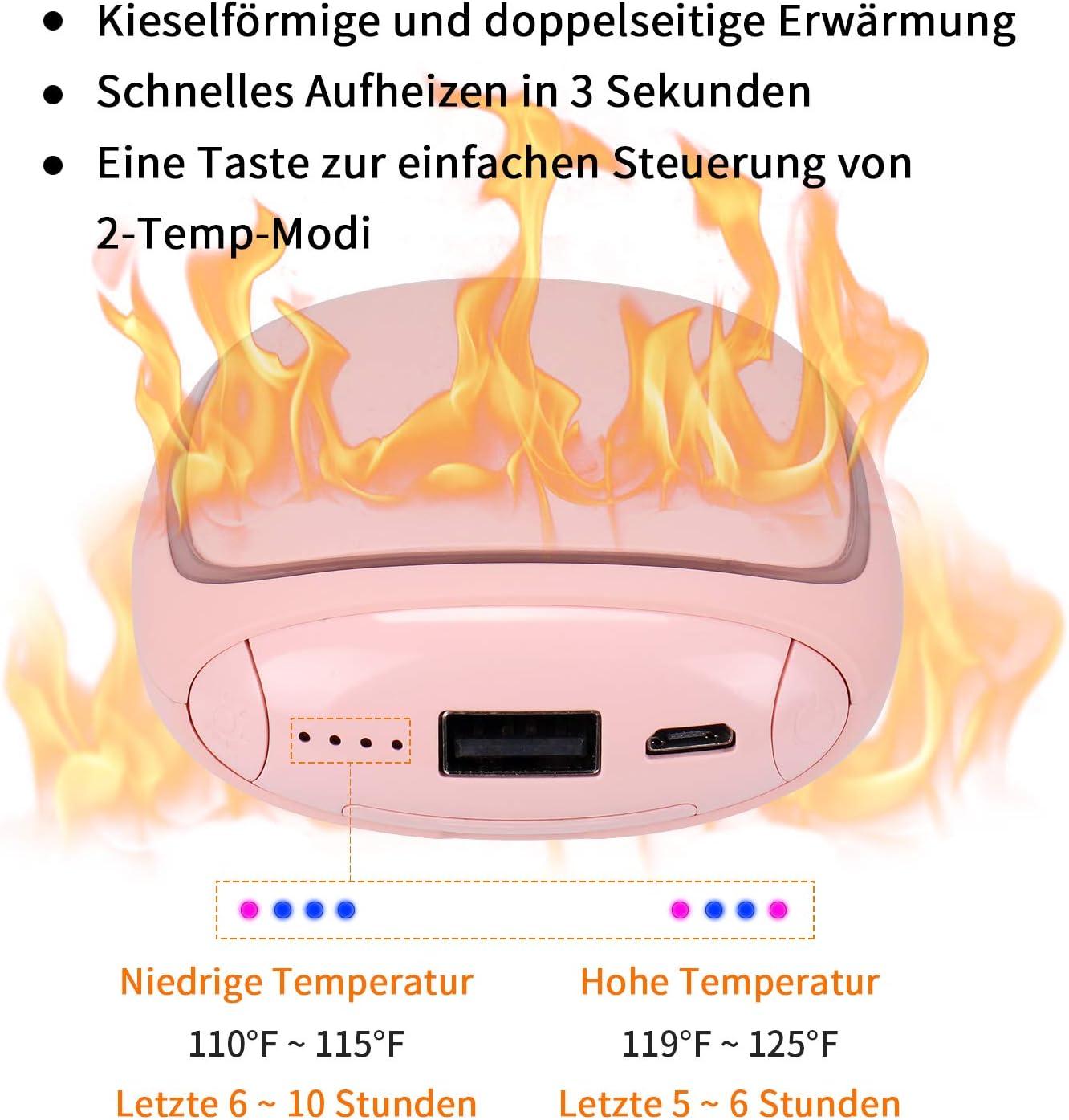 PEYOU Handw/ärmer USB M/änner Taschenw/ärmer Wiederverwendbar Powerbank 5200 mAh mit LED Taschenlampe Gro/ße Kapazit/ät und doppelseitige Heizung f/ür M/ädchen Externe Backup Ladeger/ät Akku f/ür Smartphone