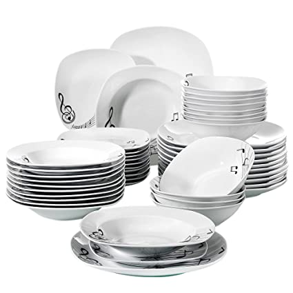 Amazon VEWEET 40Piece Dinnerware Sets Musical Note Patterns Magnificent Patterned Dinnerware Sets