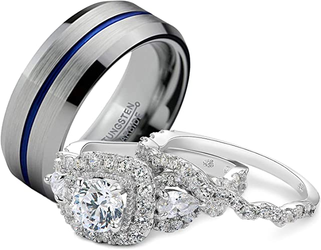 Amazon Com Newshe Wedding Rings Set For Him And Her Women Men Tungsten Bands Sterling Silver Blue Line Cz 10 10 Jewelry