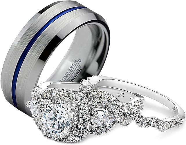 Amazon Com Newshe Wedding Rings Set For Him And Her Women Men