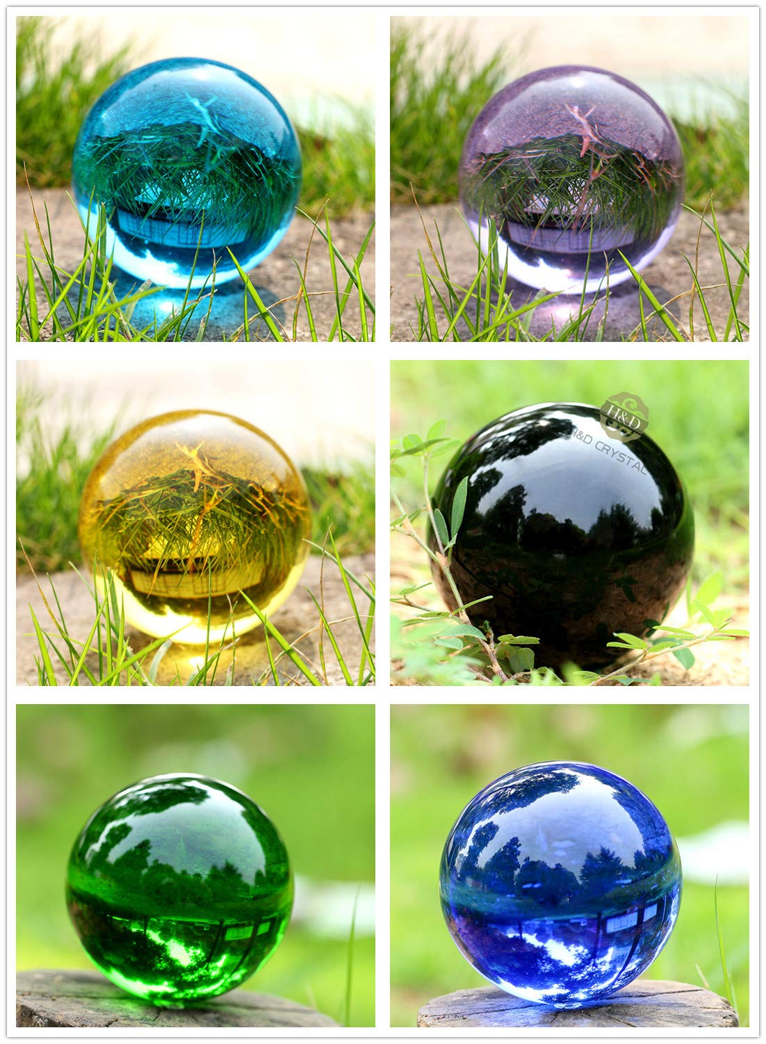 H&D 60mm 6-Color Transparent Crystal Balls with Stand for Photography-Set of 6