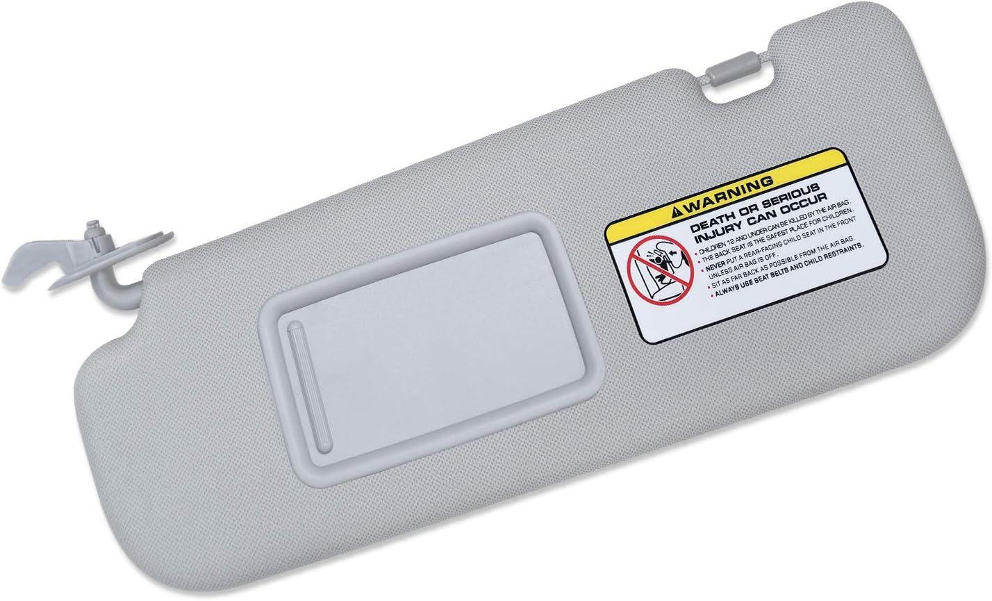 Replacement Assembly 852103X000TX Gray SENSHINE Left Driver Side Sun Visor for Hyundai Elantra 2011 2012 2013 2014 Avante MD