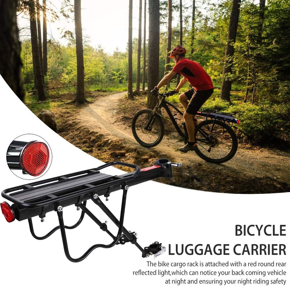 Bike Rack Pannier Rack Bicycle Rear Rack Carrier Adjustable Bike Luggage Cargo Rack with Reflector Quick Release Cycling Seatpost Rack Black 50KG Capacity 24-29