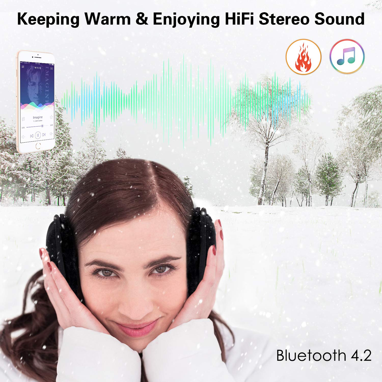 Bluetooth Ear Warmer Headphones,ink-topoint Wireless Over-Ear Hi-Fi Stereo Music Earmuffs,Handfree Headset with Built-in Speaker Unisex Ear Warmer,Winter Ear Muffs for Walking,Running,Indoor Outdoors