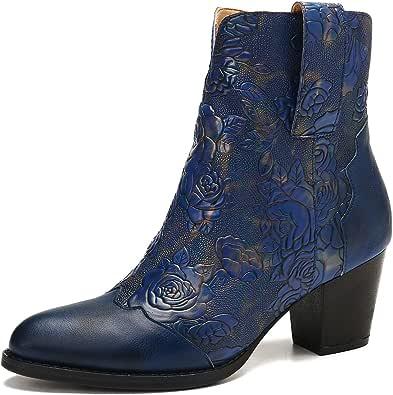 Camfosy Botines de cuero para mujer, botas de empalme con tacón de bloque para invierno, con estampado cálido, botas cortas, cremallera lateral, cómodas, zapatos de fiesta al aire libre, marrón y azul