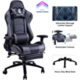 【Upgrade Version】KILLABEE Big and Tall 350lb Massage Gaming Chair Metal Base - Adjustable Massage Lumbar Cushion, Retractable Footrest High Back Ergonomic Racing Computer Desk Leather Office Chair