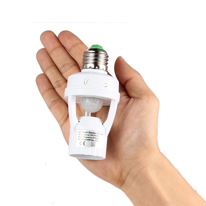 Portalámparas,niceEshop(TM) E27 PIR Sensor de Movimiento Cuerpo Humano de Inducción LED Infrarrojos Portalámparas,Blanco: Amazon.es: Iluminación