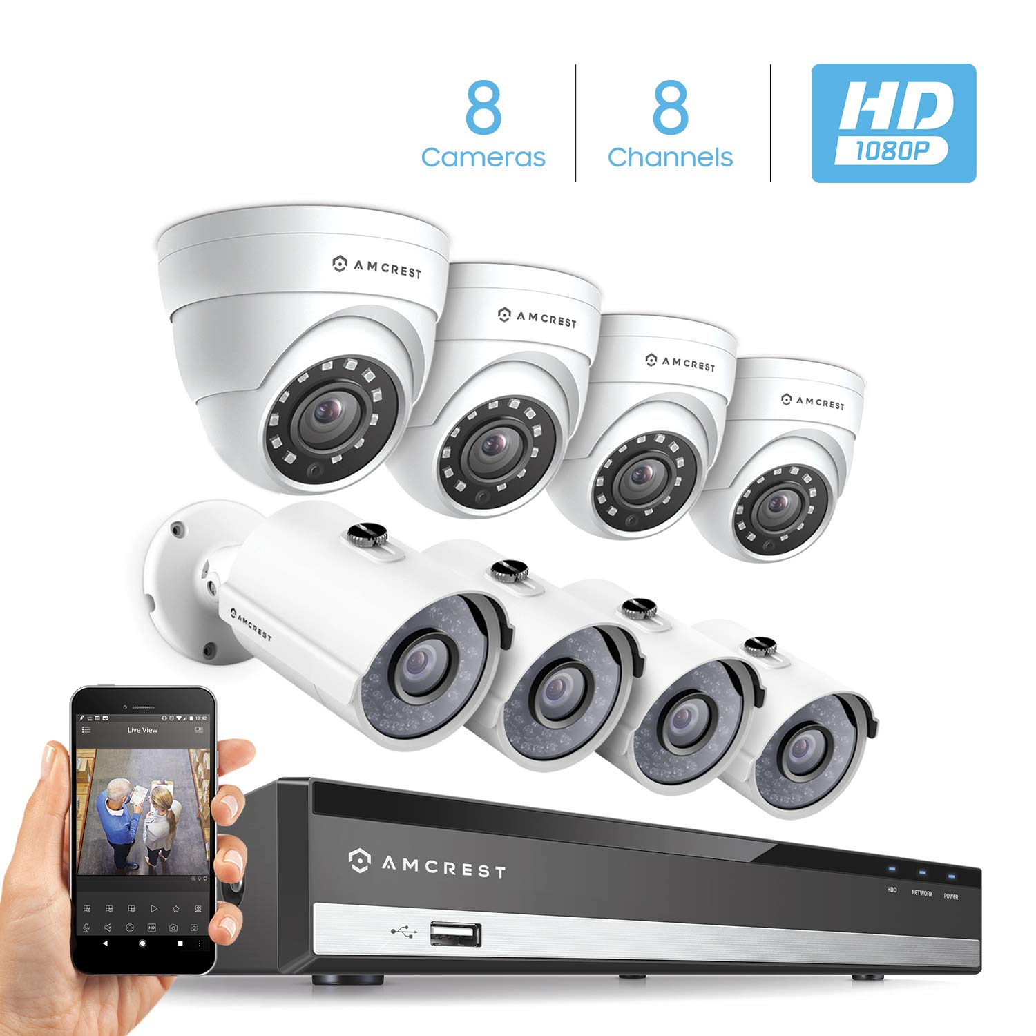 Amcrest Full-HD 1080P 8CH Video Security System w Eight 2.0MP 1920TVL Outdoor IP67 Bullet Dome Cameras, 98ft Night Vision, Hard Drive Not Included, AMDV10818-4B4D-W