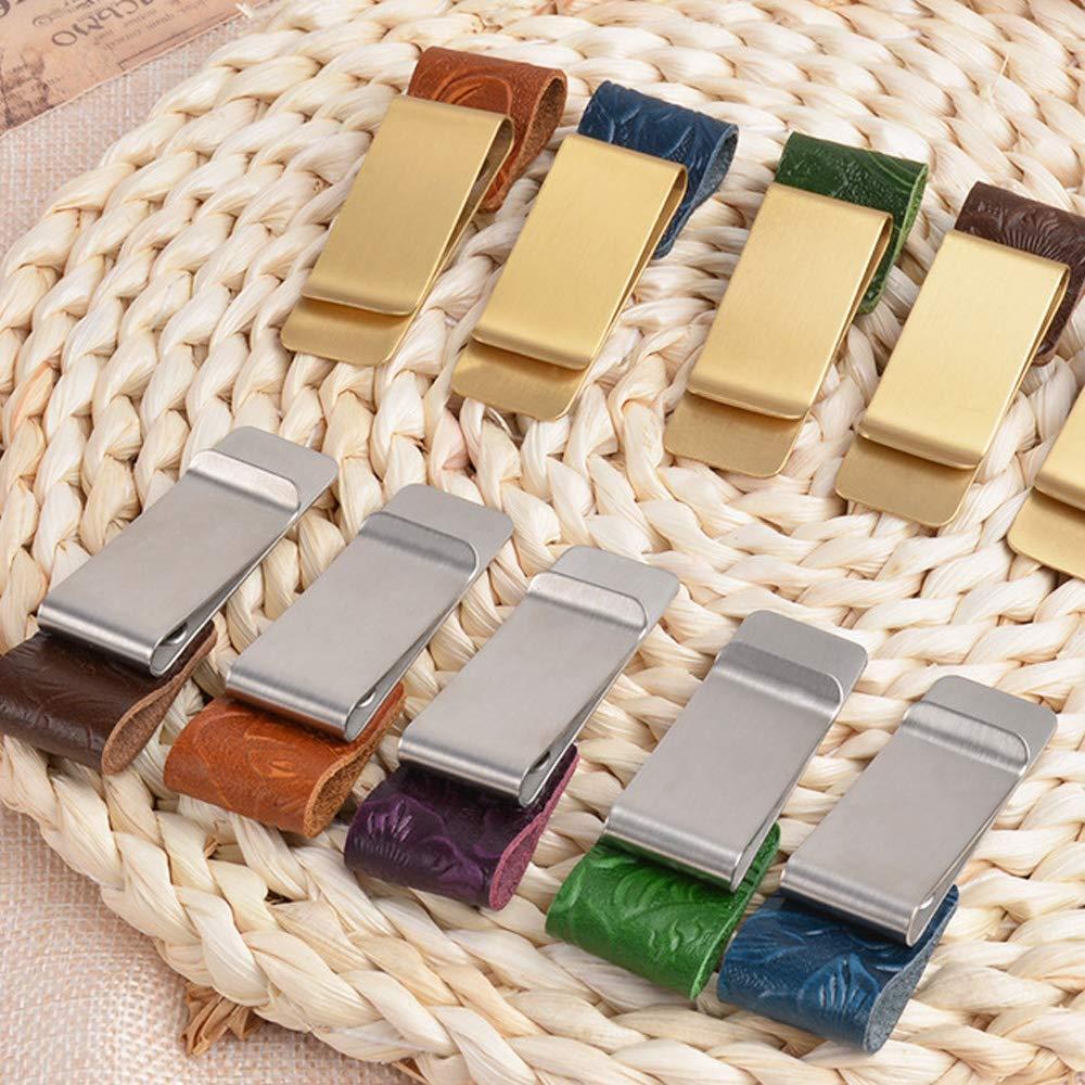Shihao159 clip in acciaio inossidabile metallo vintage memo taccuino fatto a mano in pelle ottone portapenne Style1 Verde