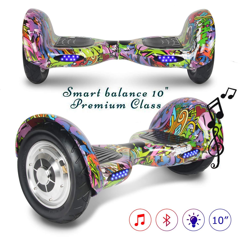 COLORWAY Smart Scooter Auto Equilibrio Hoverboard 10 Pulgadas Neumáticos Inflables con Bluetooth y LED