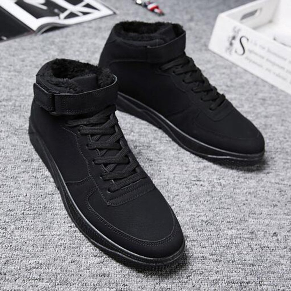Herrenschuhe Feifei Herren Freizeitschuhe Wintermode Warm Warm High Plate Schuhe 3 Farben (Farbe   Schwarz, größe   EU 41 UK7.5-8 CN42)
