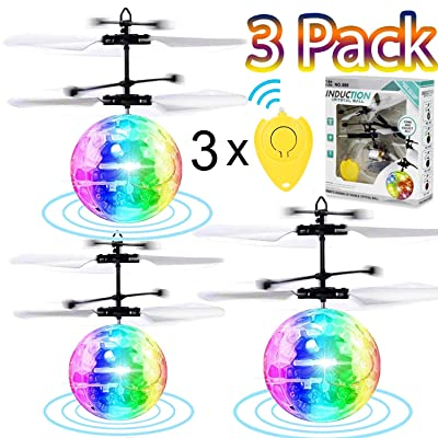 3 Pack LED Flying Ball Toys, RC Flying Toys for Kids Boys Girls Rechargeable Ball Drones Infrared Induction Helicopter with 3 Remote Controller Indoor Outdoor Games Family Games Birthday Gift: Toys & Games