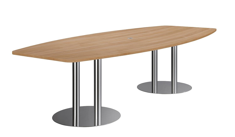Hammerbacher Konferenztisch KT28S Säulenfüße, Nussbaum/chrom
