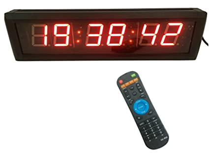 Reloj LED de pared de GANXIN, 5,84 cm, 6 dígitos, con conteo ...