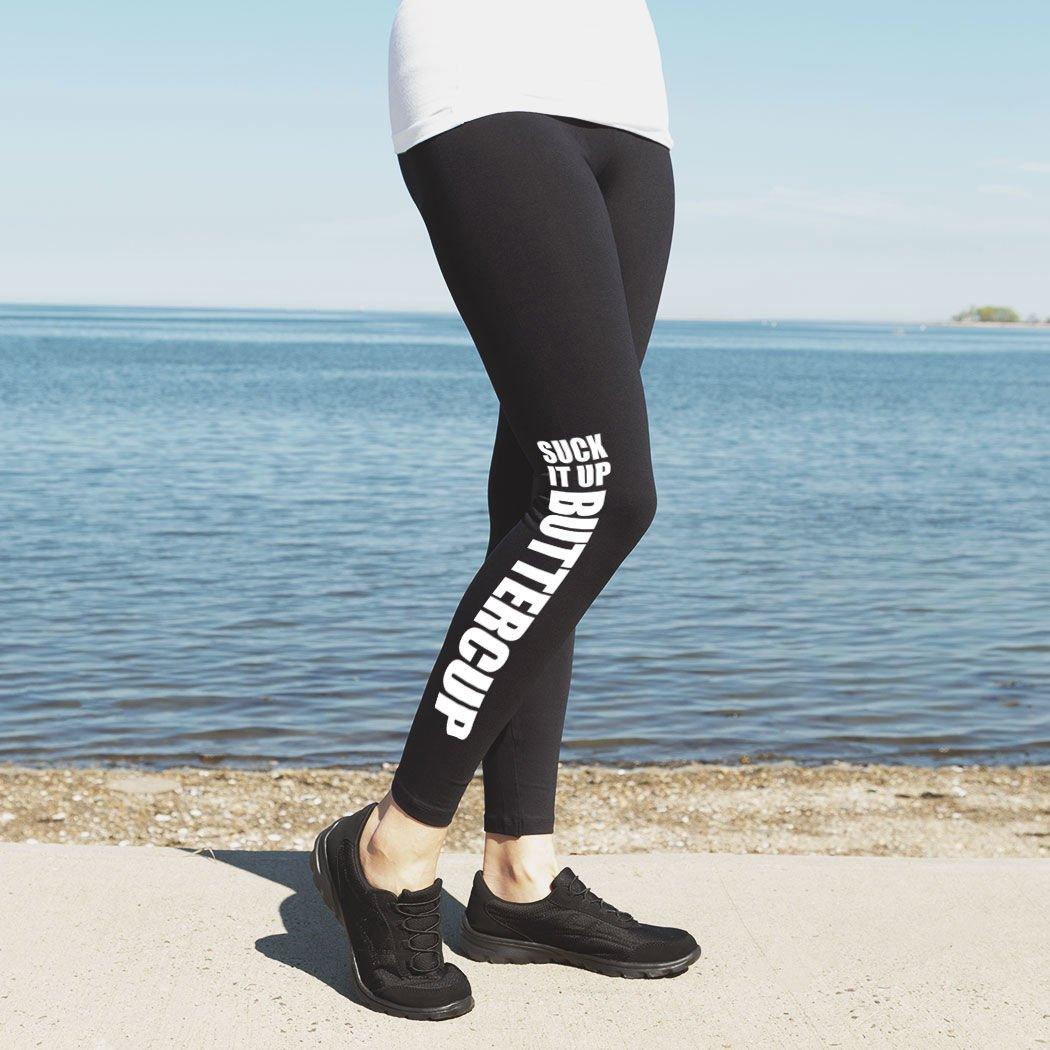 Suck It Up Buttercup Leggings Youth To Adult Sizes tr-22216 Running Leggings by Gone For a Run Multiple Colors
