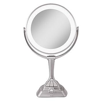 Recargable Espejo Aumento de Pared 10x Espejo Ba/ño Doble Cara ZJBB Espejo Maquillaje con Luz Pared Dorado Espejo Tocador Redondo Luz LED con 3 Configuraciones de Color Seleccionables