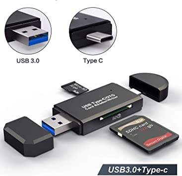 SD Card Reader USB 3.0//USB C//Micro USB Card Reader SDHC SD 3 in 1, Black SDXC Micro SDHC Micro SDXC Memory Card Reader for Macbook PC Tablets Smartphones with OTG Function Micro SD