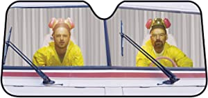 "Breaking Bad Sunshade - Funny Walter White and Jessie Pinkman Car Windshield Sun Shade Screen Cools Vehicle Interior - 27 1/2"" x 58"""