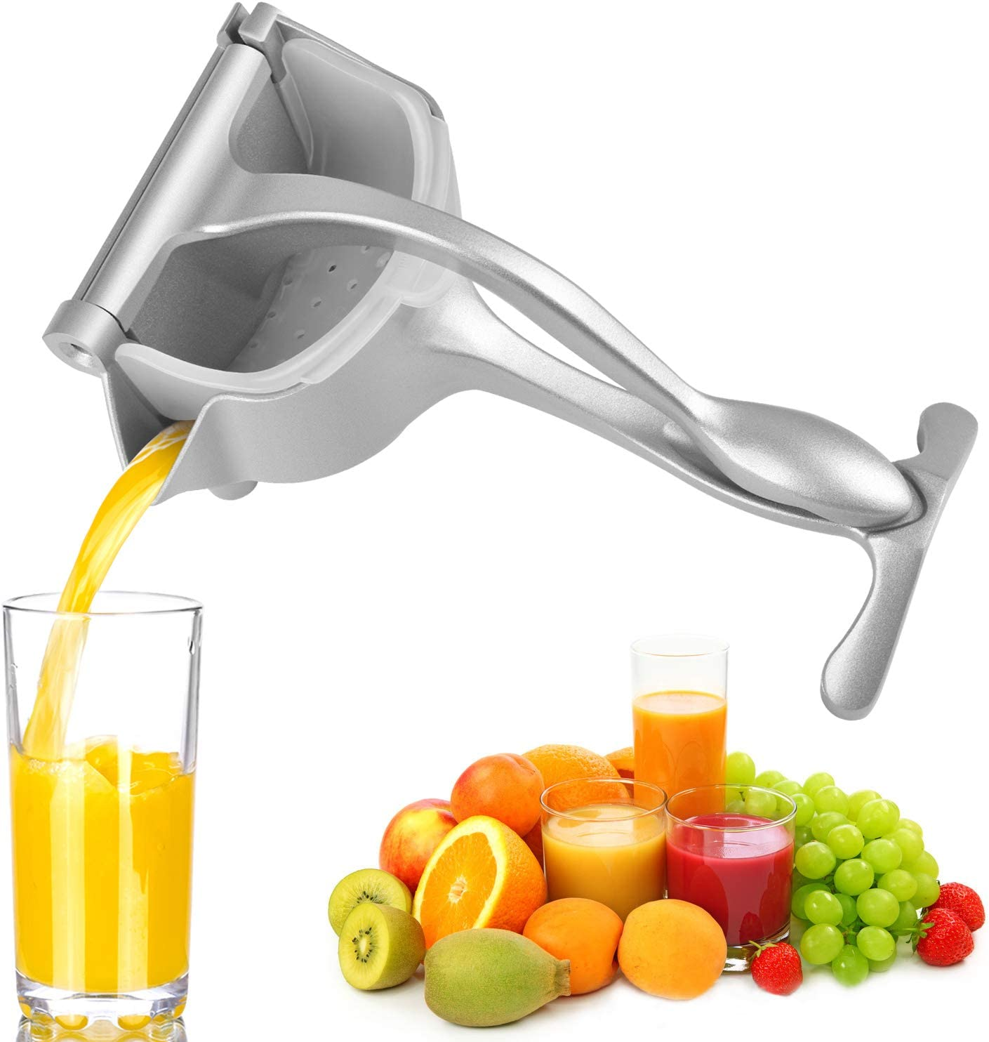 Stainless Steel Manual Juicer Hand Press Lemon Orange Juicer Healthy Fruit Juicer Citrus Extractor Tool (Silver)