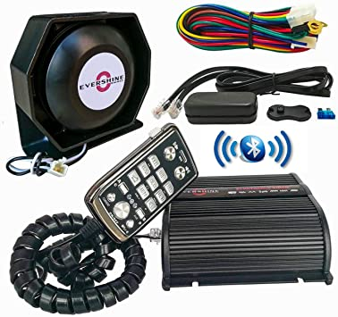 Evershine Signal Sirena de policía de 150 W con altavoz, micrófono, función Bluetooth, más de 20 tonos aptos para camiones de transmisión, policía, tráfico, vehículos de extinción de incendios: Amazon.es: Coche y