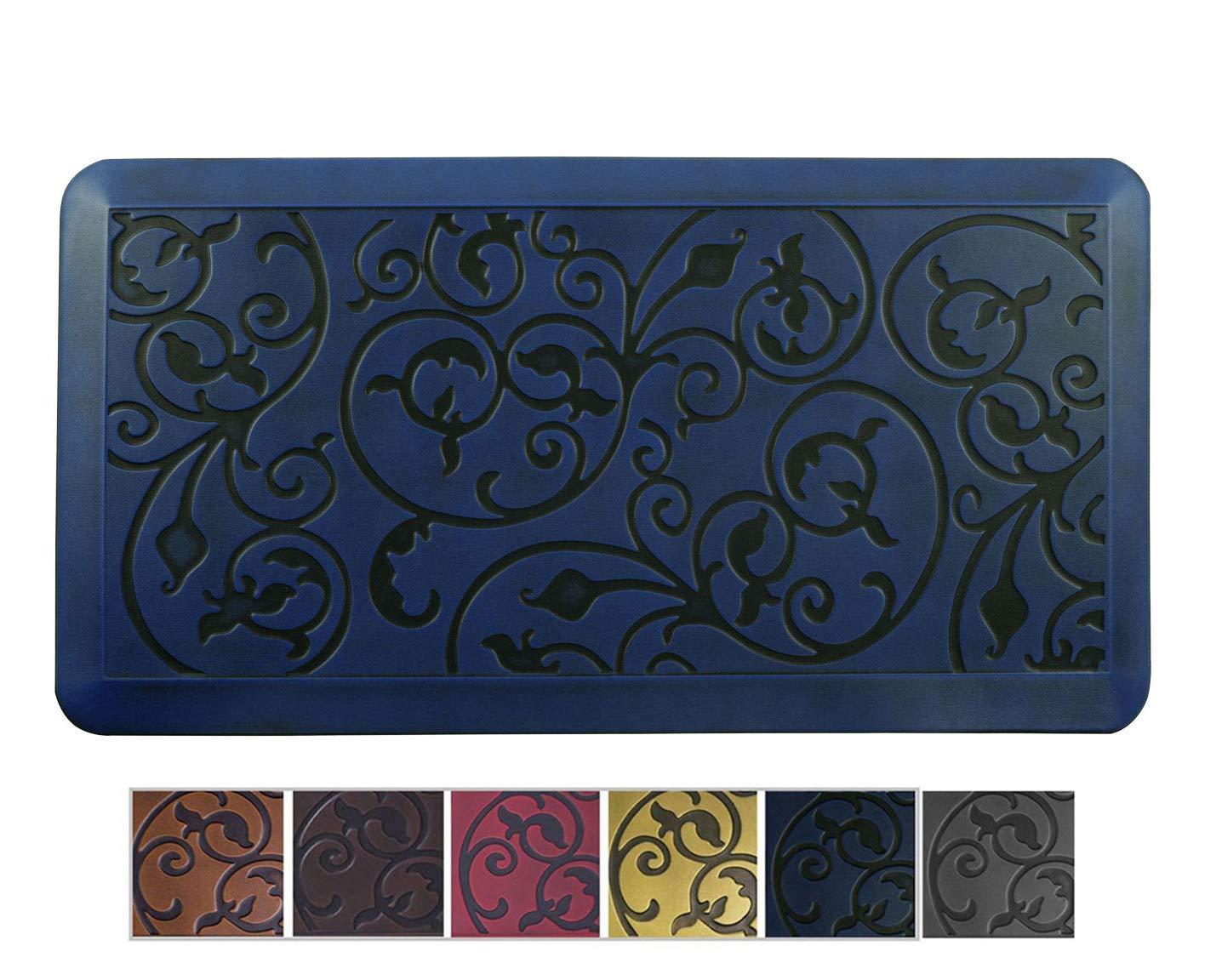 Amcomfy Kitchen Anti Fatigue Mat,Comfort Floor Mats,Standing Desk Mats,Antique Series (20 x 39 x 3/4 Inches, Antique Medieval Blue)