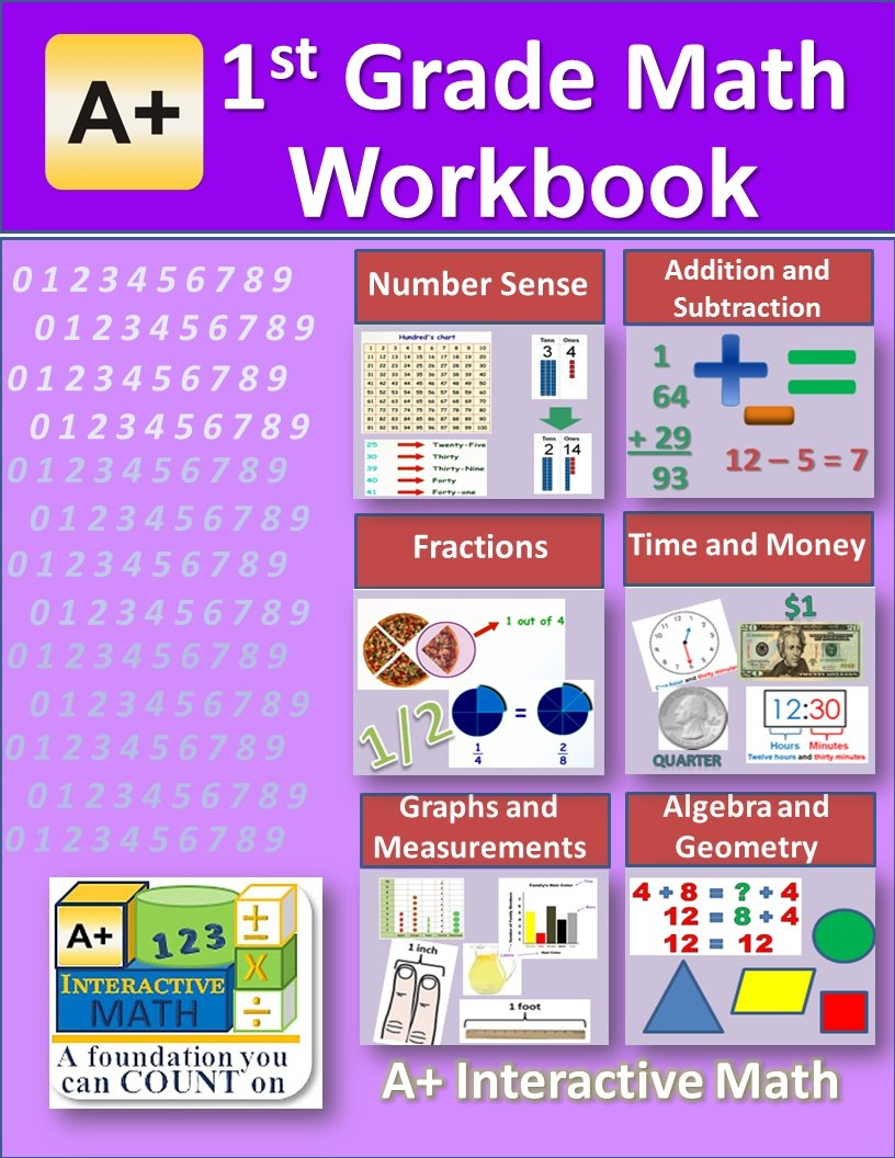 Download 1st Grade Math Printed Workbook & Solution Manual eBooks CD (100 Worksheets, 14 Tests and Answer Keys Printed B&W Plastic-coil bound and Step-by-step Solution Manuals PDFs on CD) ebook