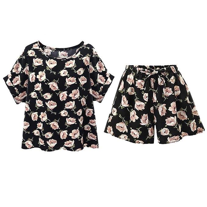 Ropa de mujer talla grande,Switchali Mujer Verano casual moda floral camisa vestido Manga corta