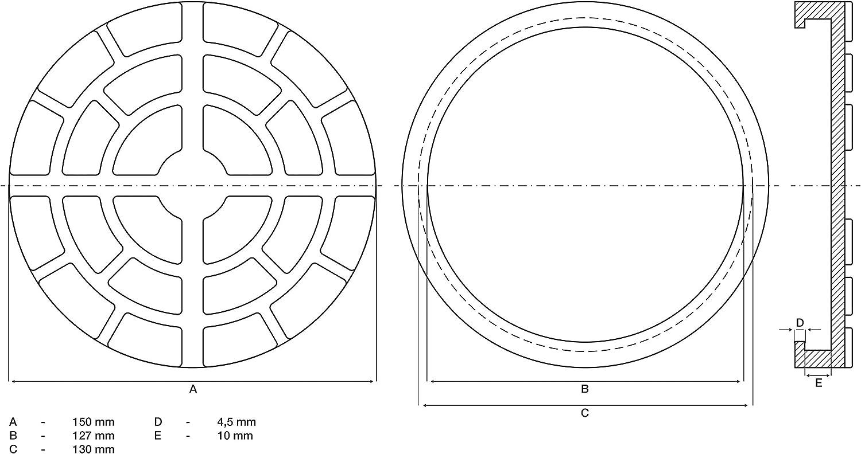 BGS 7045 Erba 7045-Plato Plataformas Elevadoras /Ø 150 mm di/ámetro, Revestimiento de Goma