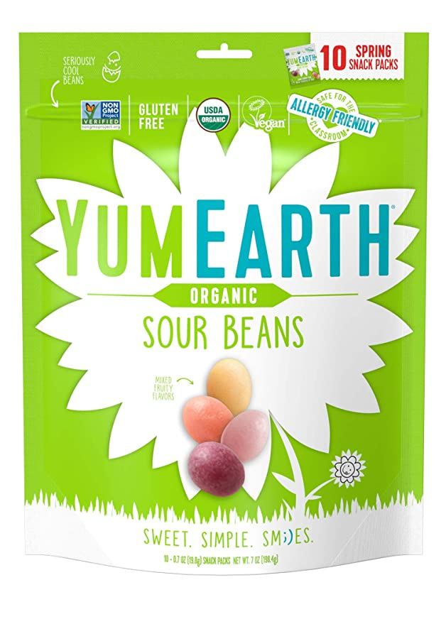 YumEarth Organic Candy Sour Jelly Beans, 10 Snack Packs