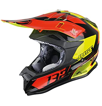 JUST1 casco J32 Pro Kick, Negro/Rojo/Amarillo, ...