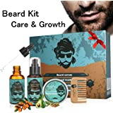 Beard Styling and Shaping Set - Great for Dry or Wet Beards - Adds Shine and Softness - Gift Set Includes Beard Shampoo,Beard Oil,Beard Balm,Wooden Comb - Beard Care
