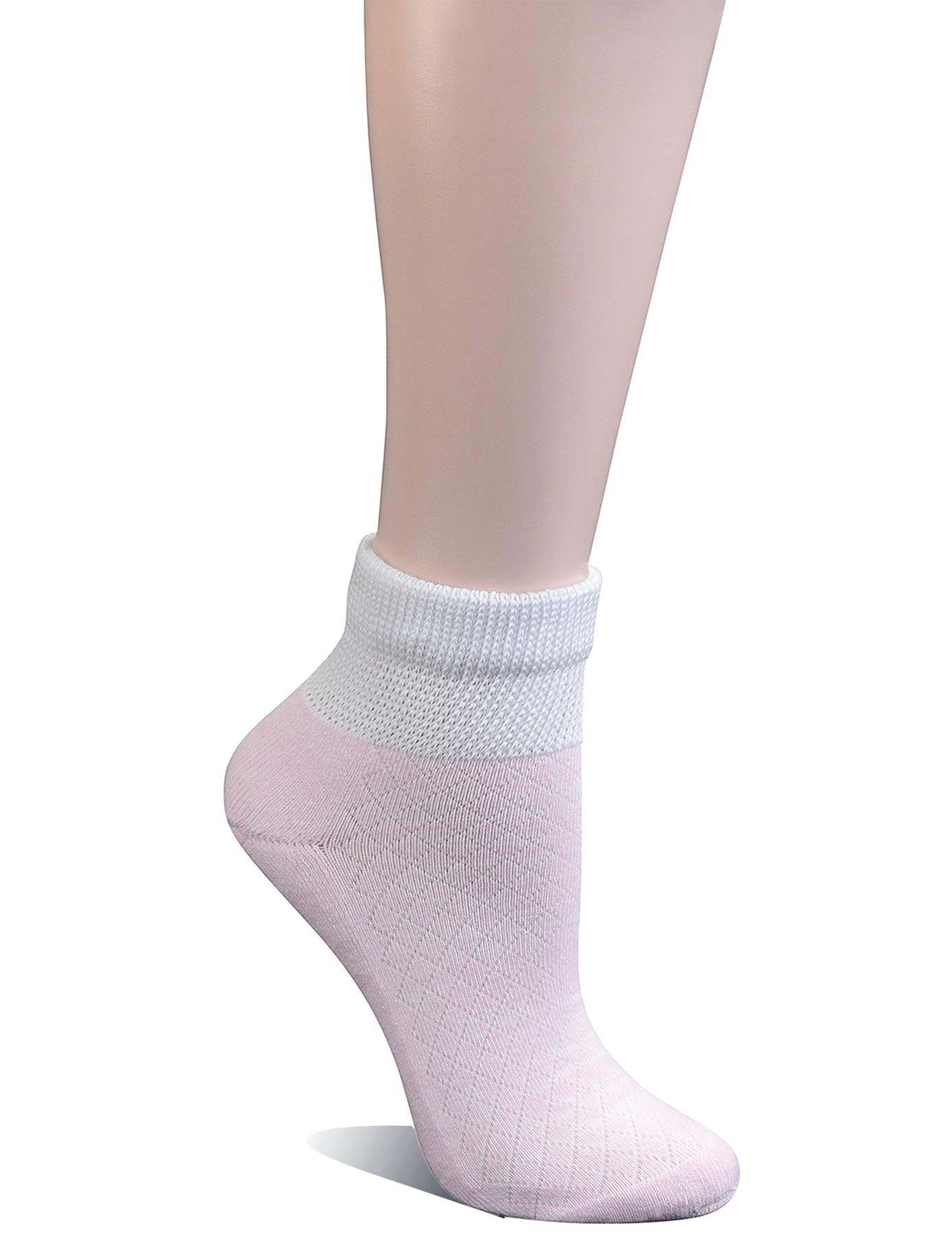 Yomandamor 5 Pairs Women's Cotton Ankle Breathable Mesh Diabetic Socks with Seamless Toe,L Size