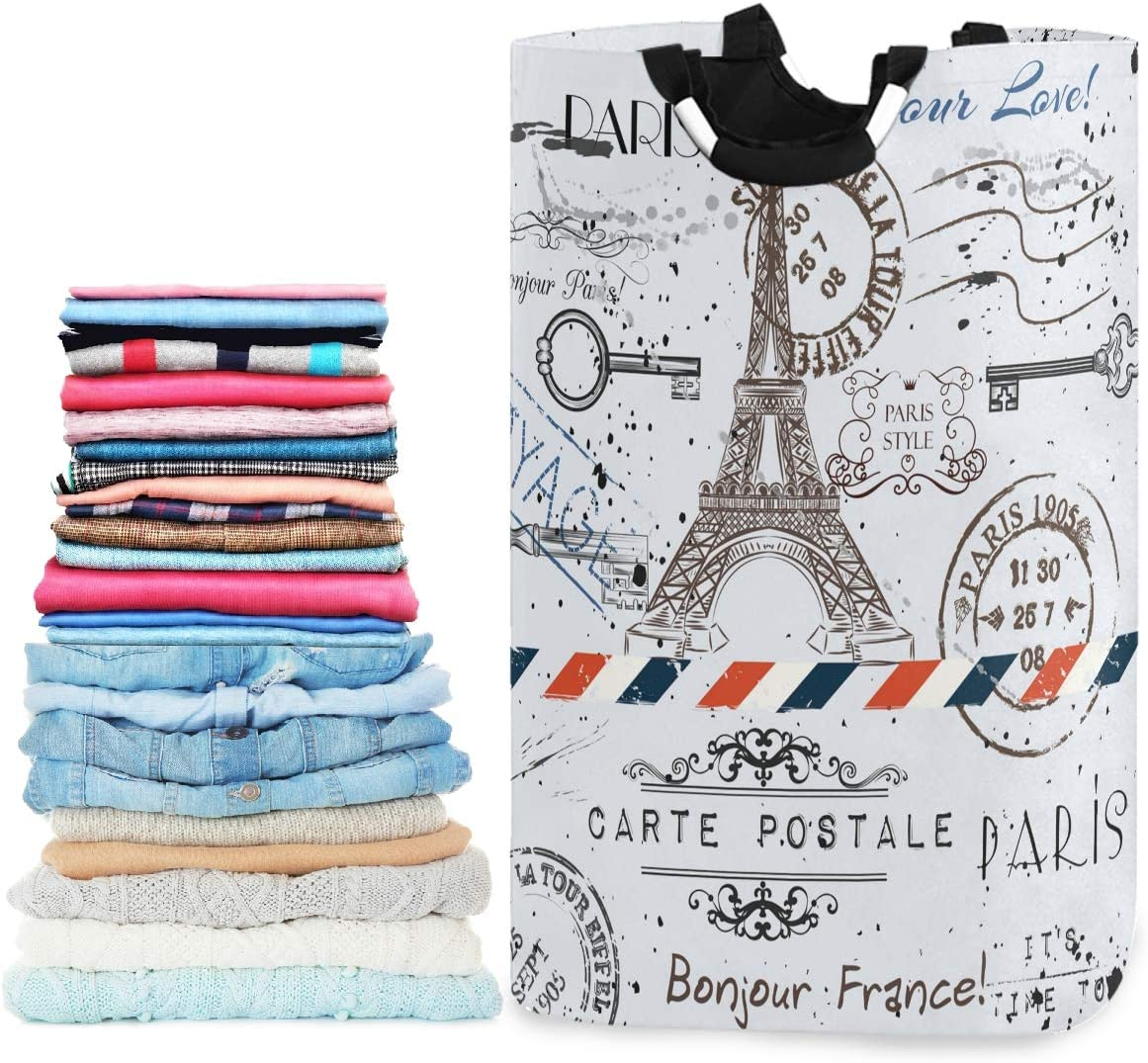 visesunny Unique Style Paris Eiffel Tower Lettering Large Capacity Laundry Hamper Basket Water-Resistant Oxford Cloth Storage Baskets for Bedroom, Bathroom, Dorm, Kids Room