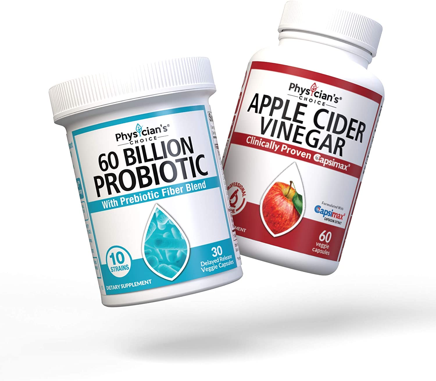 Probiotics 60 Billion CFU + Apple Cider Vinegar Capsules for Weight Loss Support