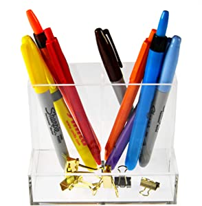 """HOME-X Clear Desk Caddy, Pencil Holder and Organizer for Desk and Office Supplies, Acrylic Caddy for School Supplies, Clear, 5"""" L x 3 ¼"""" W x 3 ¾"""" H"""