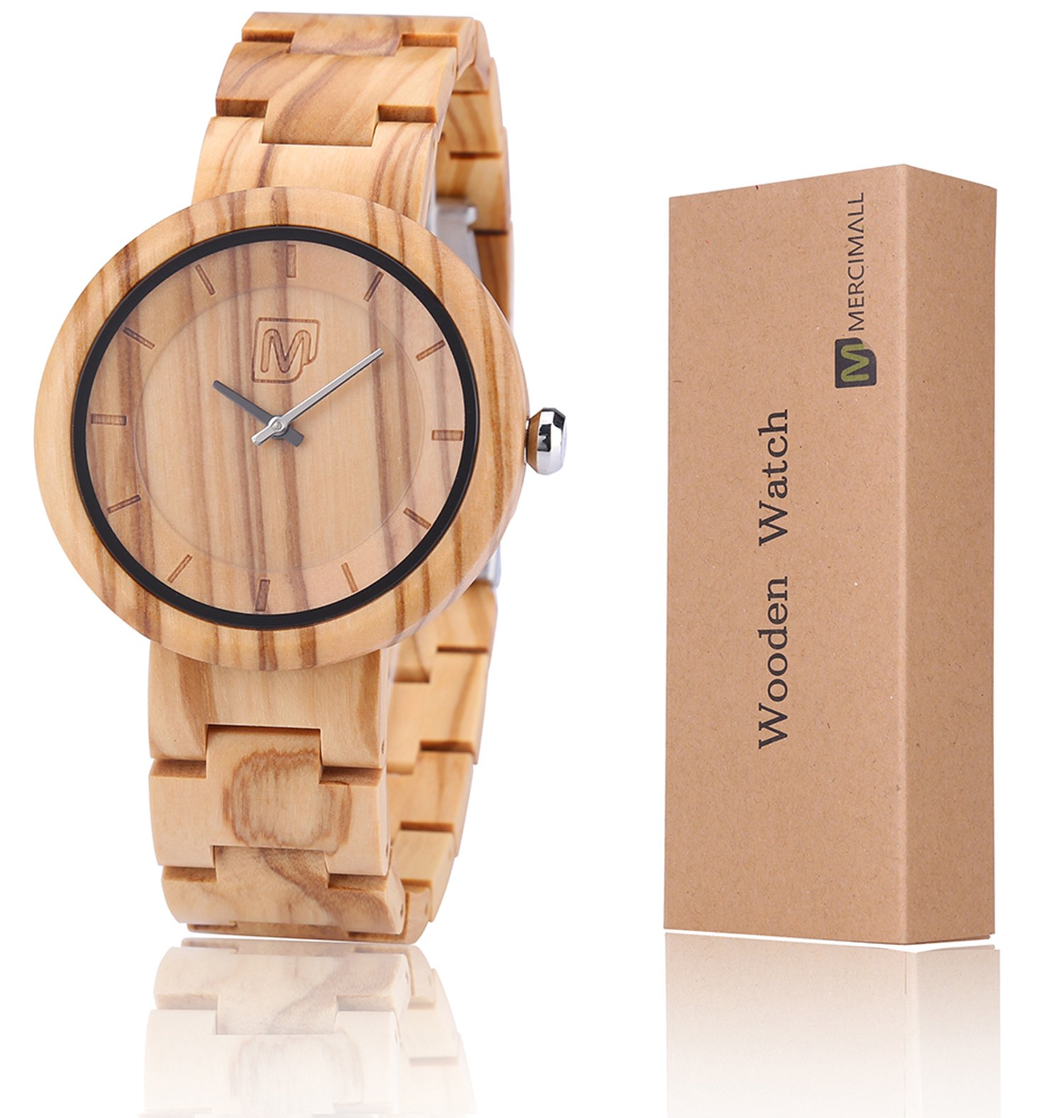 Women Wooden Wrist Watches Unisex Weekender 42mm Watch Mercimall Quartz Analog Wood Watch for Girlfriend Personalized Groomsmen Watch